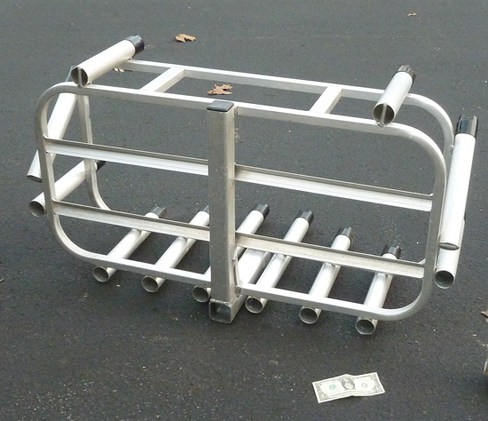 Aluminum 12 fishing rod pole cooler rack 2 sq hitch for Fishing pole holder for truck