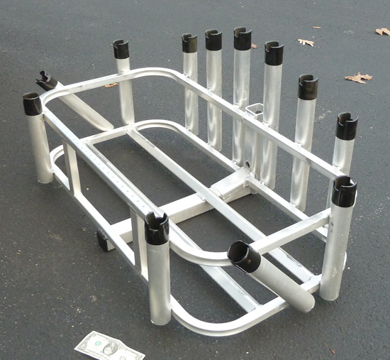 Aluminum 12 fishing rod pole cooler rack 2 sq hitch for Fishing rod rack for truck