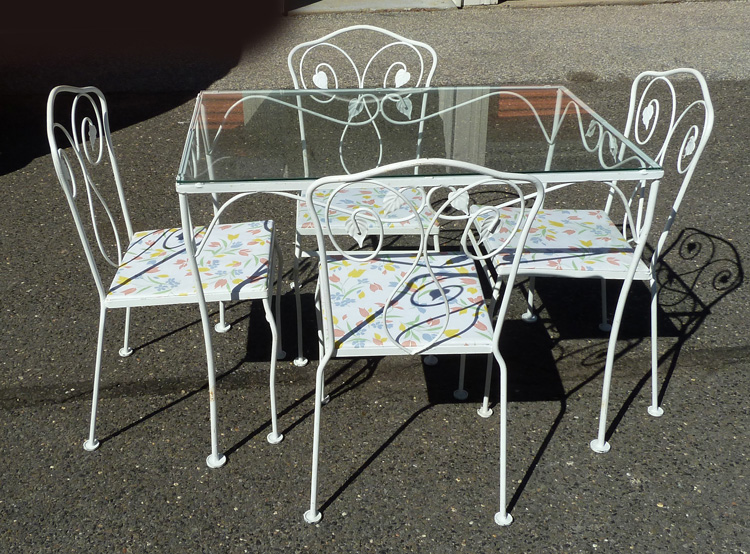 vintage white wrought iron glass top table 4 chairs